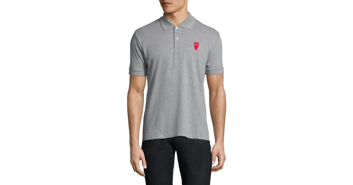dd6f91eb33d1 Play Comme Des Garçons Red Heart Patch Cotton Polo Shirt in Gray for Men -  Lyst