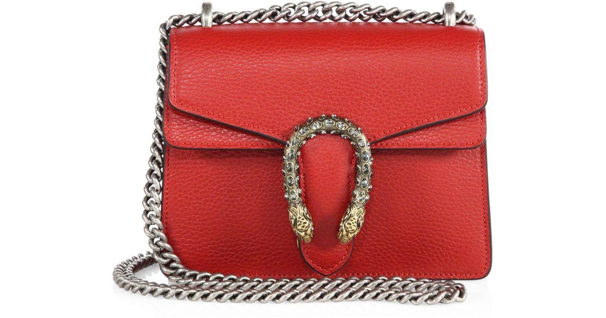 48e9aaf6f Gucci dionysus leather mini chain shoulder bag red