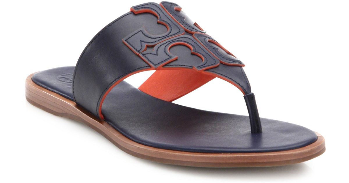 6d676e37ee63e1 Lyst - Tory Burch Jamie Leather Logo Thong Sandals in Blue