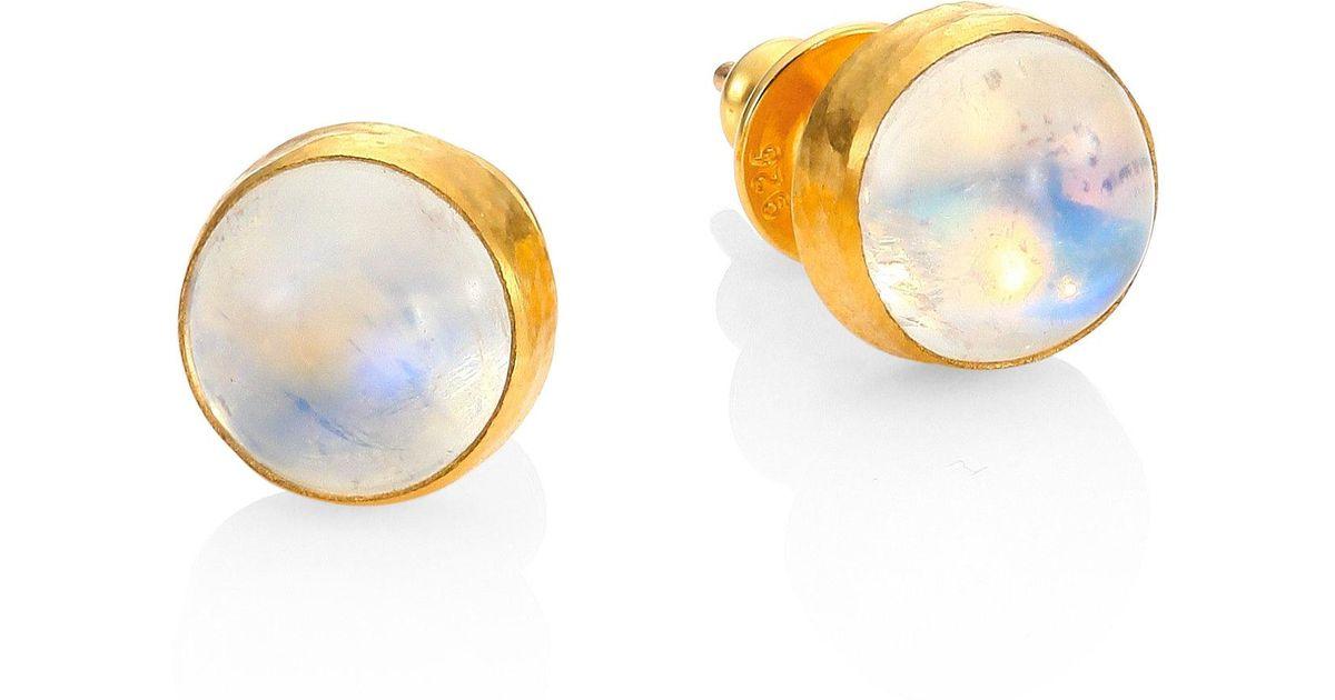 Lyst Gurhan Amulet Hue Small Moonstone 24k Yellow Gold Stud Earrings In Metallic