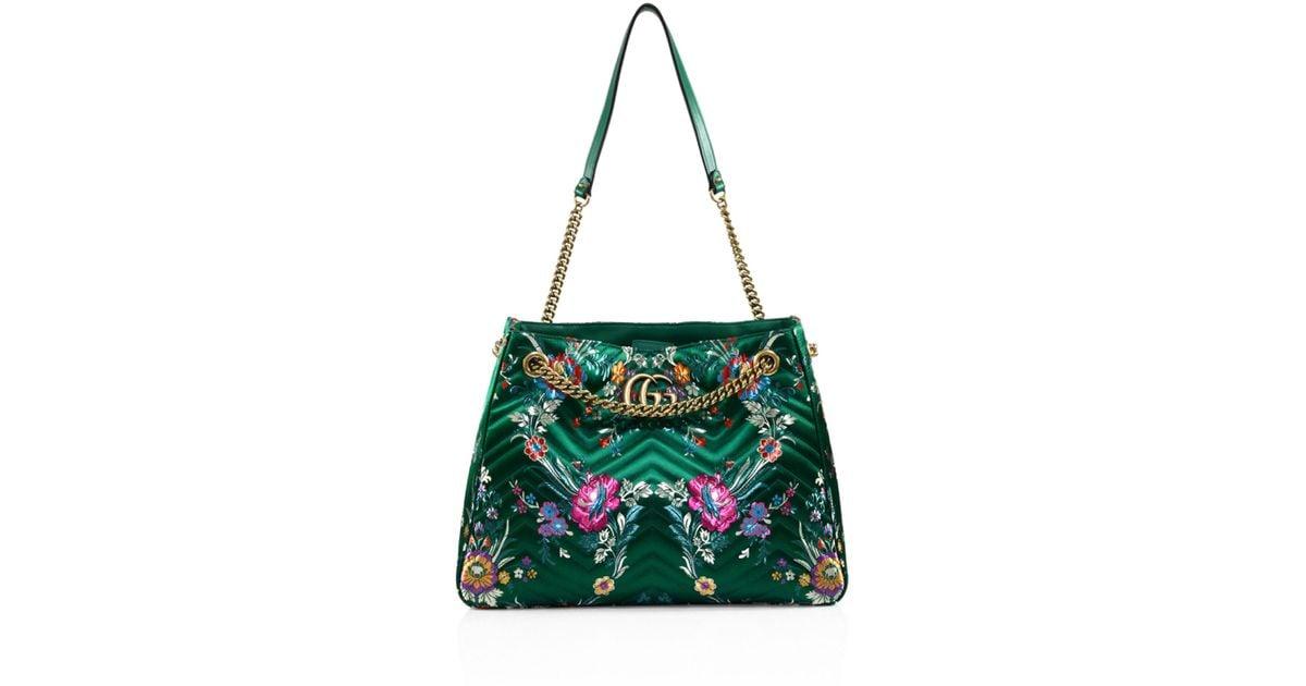 17a2fdb2c283 Lyst - Gucci Medium GG Marmont Matelassé Floral Jacquard Chain Shoulder Bag  in Green