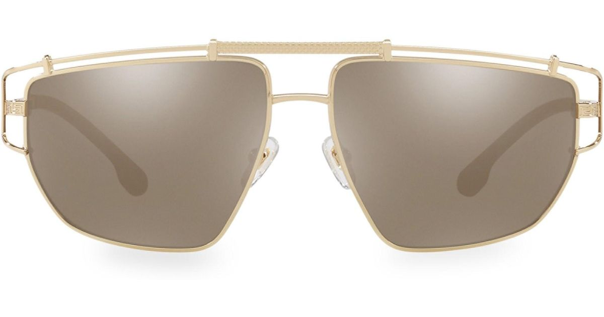 db3f049ae83 Versace Men s 57mm Irregular Hexagon Sunglasses - Pale Gold for Men - Lyst