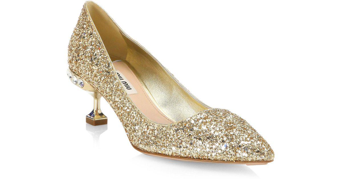 Miu Miu Glitter Shoes On Sale