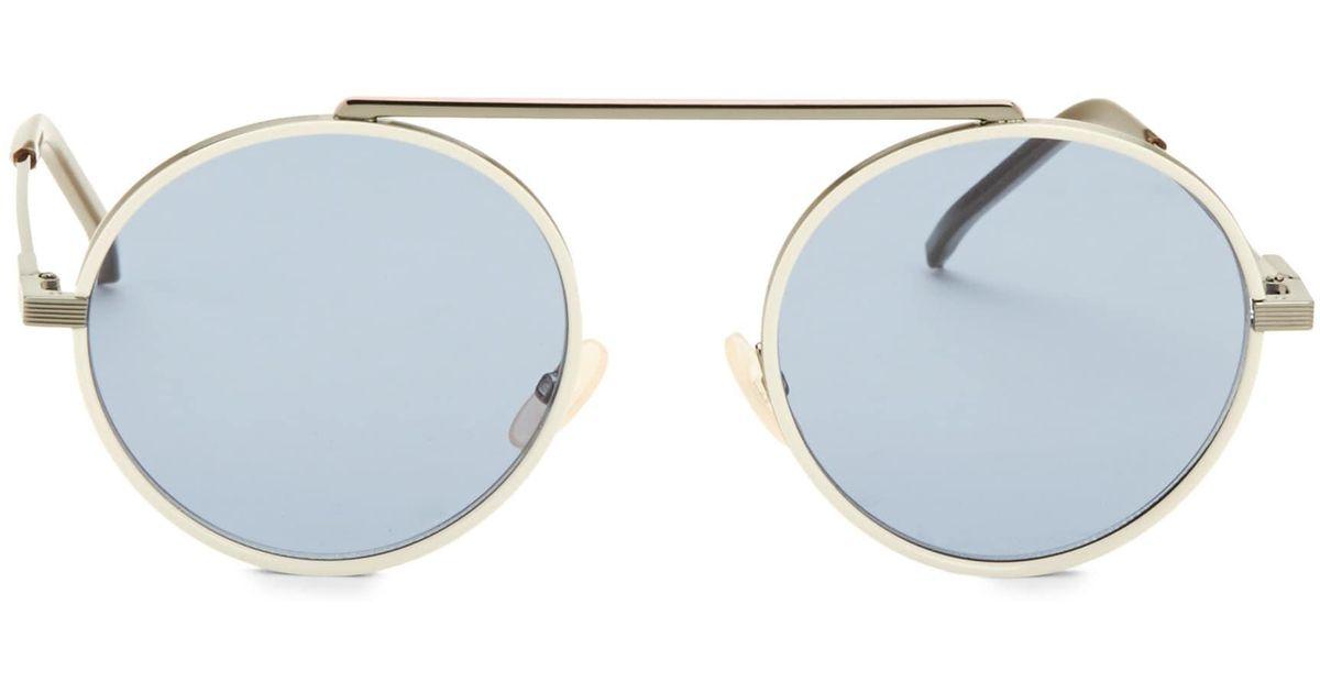 cfdabf64cee Fendi Women s 54mm Round Aviator Sunglasses - Dark Grey White in White -  Lyst