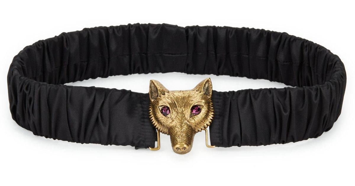 c1dcf2855cb Lyst - Gucci Satin Belt With Fox Buckle in Black