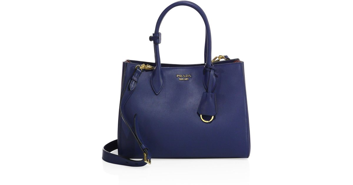 6ba8824679b7 ... shop lyst prada city two tone leather tote in blue fe699 e56d8