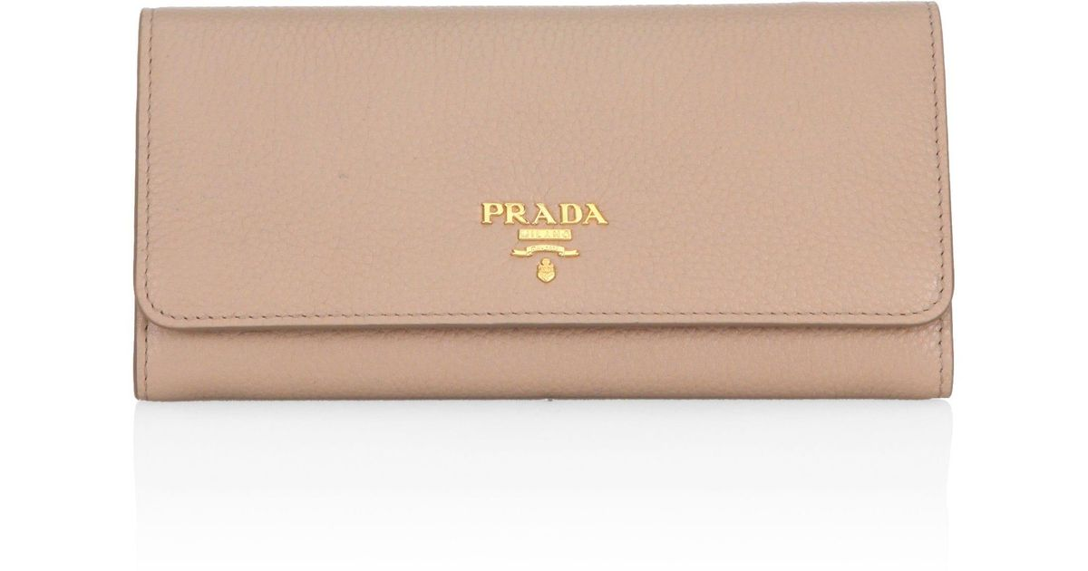 ce9d0ea2c46a Lyst - Prada Women's Leather Flap Wallet - Cammeo Peonia