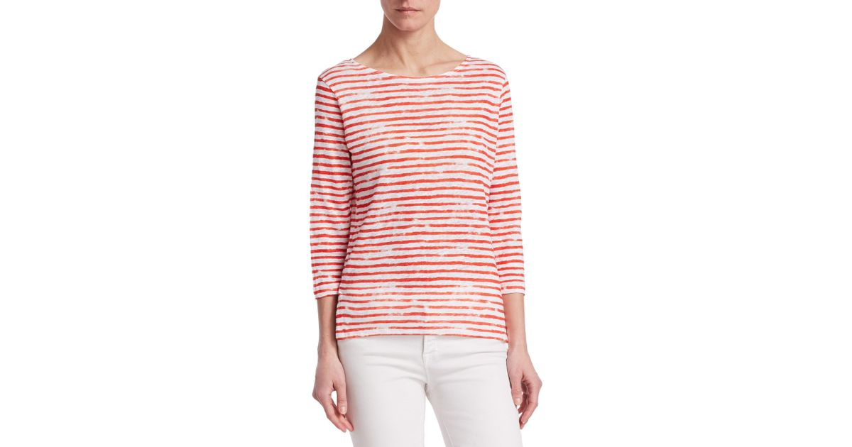 Majestic Filatures Woman Striped Slub Linen-jersey T-shirt Off-white Size 3 Majestic Filatures Outlet Top Quality Cheap Best Wholesale Big Discount Online hj4fe0zNG