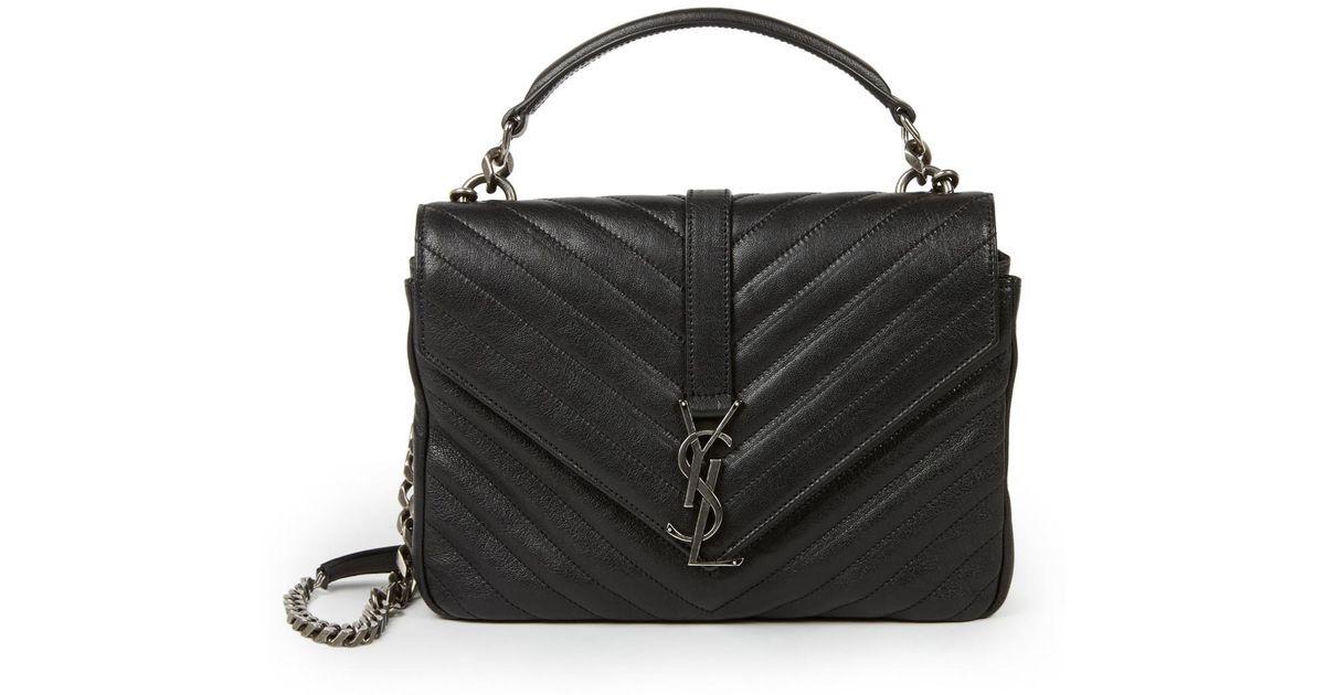 Lyst - Saint Laurent Medium College Monogram Matelasse Leather Shoulder Bag  in Black d48c7115e6