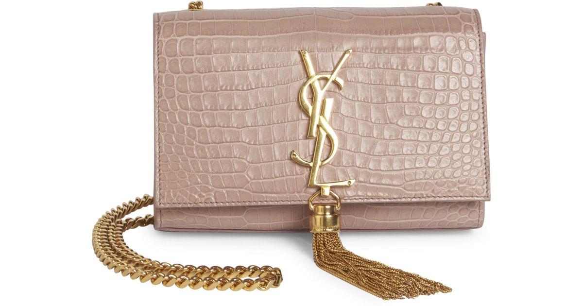 151f525d3396 Lyst - Saint Laurent Small Kate Monogram Tassel Croc-embossed Leather Chain Shoulder  Bag in Pink