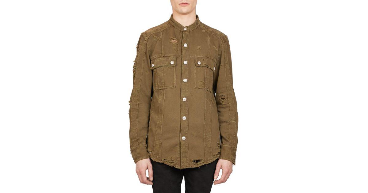 863252b7 Balmain Destroyed Military Band Collar Shirt for Men - Lyst