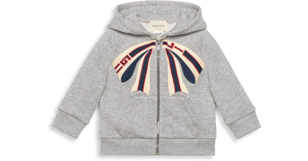 e79250a8ebc Gucci Baby Girl's Bow Embroidered Zip-up Sweatshirt in Gray - Lyst