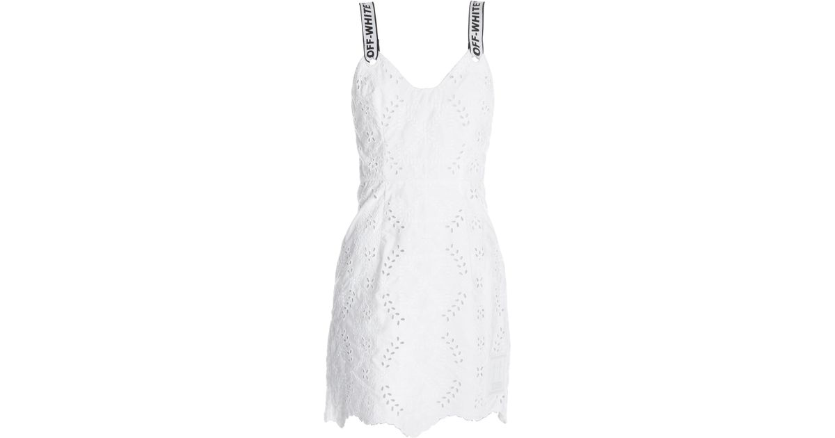8c6cf6a4 Lyst - Off-White c/o Virgil Abloh Logo San Gallo Lace Sheath Dress in White