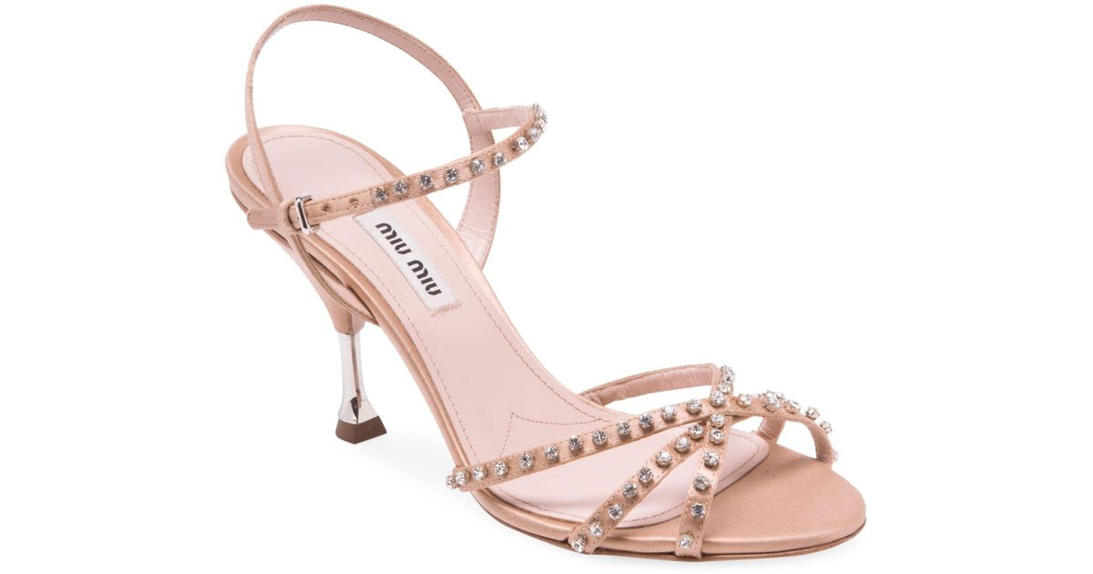 39e7fb46d Miu Miu Women s Stiletto Heel Jeweled Leather Sandals - Bianco - Size 38  (8) in Natural - Lyst
