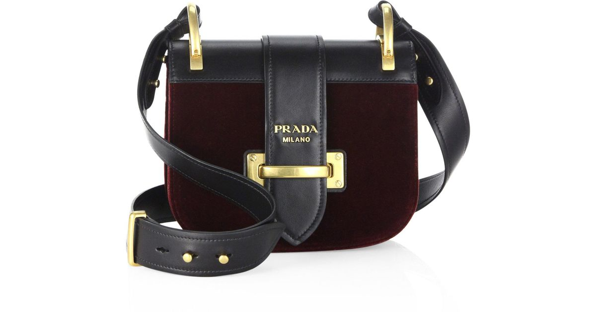 67cee146a026 Lyst - Prada Pionniere Velvet   Leather Saddle Bag in Black
