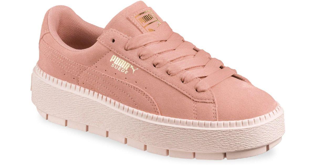 Lyst - PUMA Women s Rock Ridge Suede Platform Sneakers - Peach - Size 38  (8) in Pink 4abcd00d3