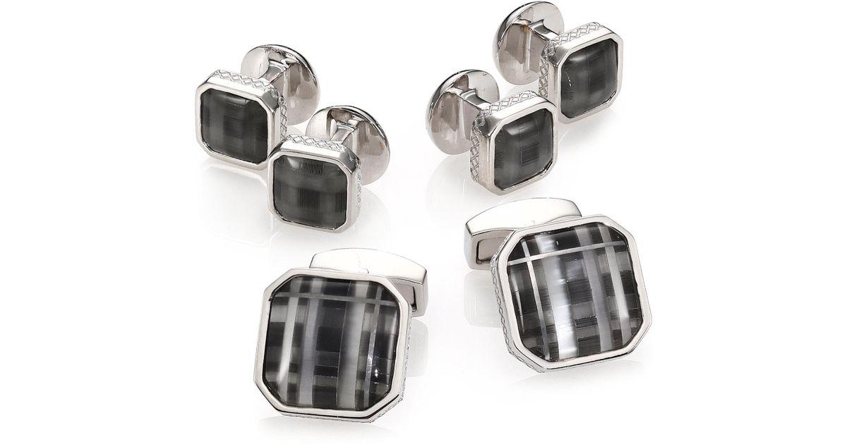 Tateossian Rhodium-Plated Cuff Links & Stud Set, Black