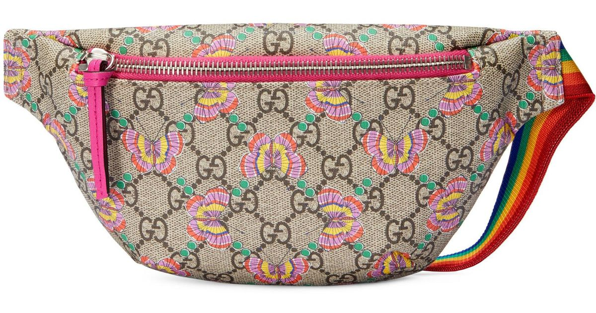 31fca1e1a883 Gucci Girl's Logo Canvas Butterfly Belt Bag - Lyst
