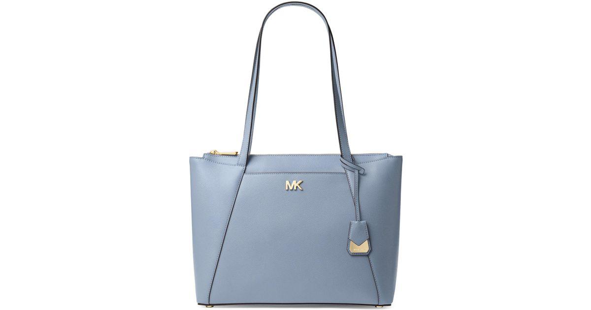 39171216b1fc9f Lyst - MICHAEL Michael Kors Maddie Medium Crossgrain Leather Tote in Blue