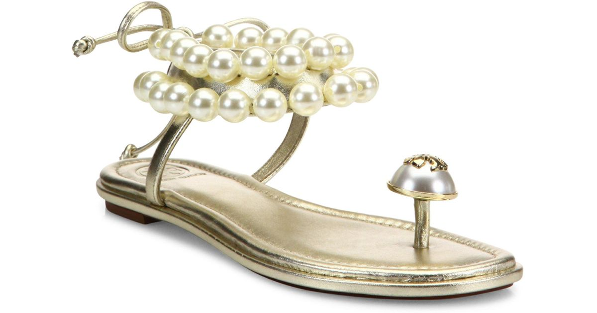 9a460911e16f Lyst - Tory Burch Melody Beaded Leather Ankle Tie Sandals in Metallic