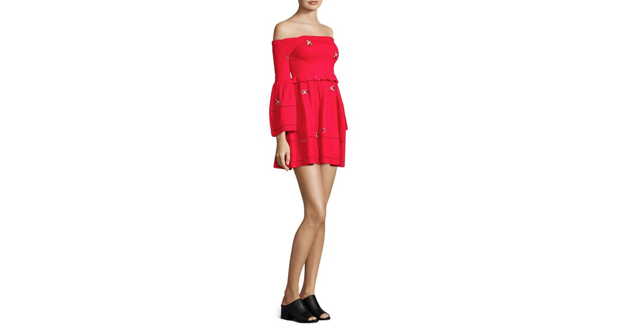 c169319536ef2 Free People Counting Daisies Embroidered Mini Dress (red Combo) Dress in Red  - Save 78% - Lyst