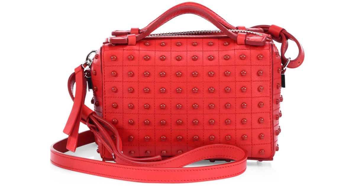 43ca654583e2e Tod's Diodon Leather Studded Micro Crossbody Bag in Red - Lyst