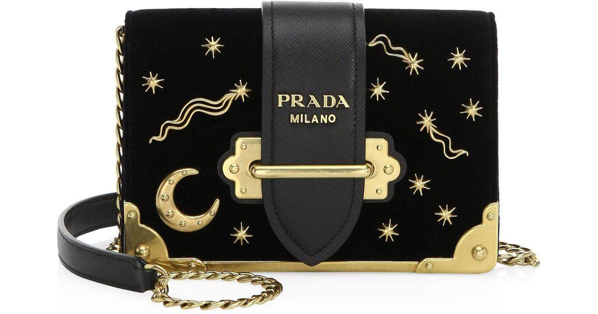 Lyst Prada Cahier Moon Amp Stars Velvet Crossbody Bag In Black