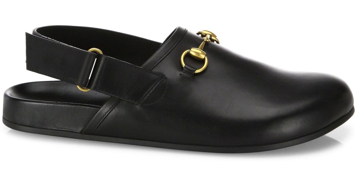 a0a1ff259 Gucci River Leather Clogs in Black - Lyst