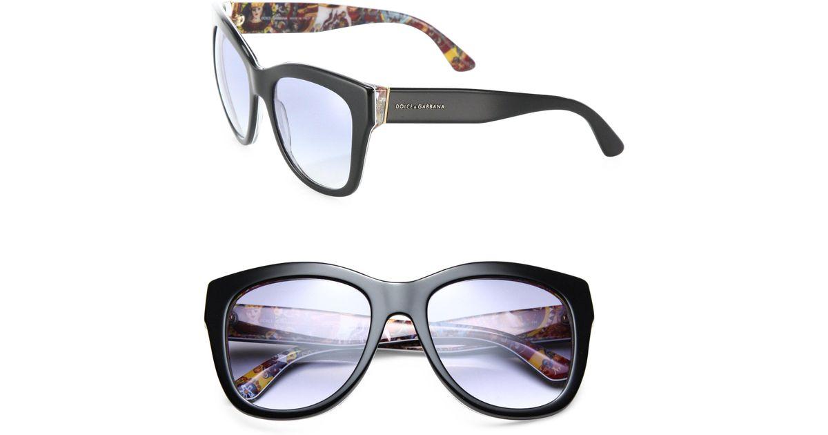 eb6619123f90 Dolce & Gabbana 55mm Square Floral Acetate Sunglasses in Black - Lyst