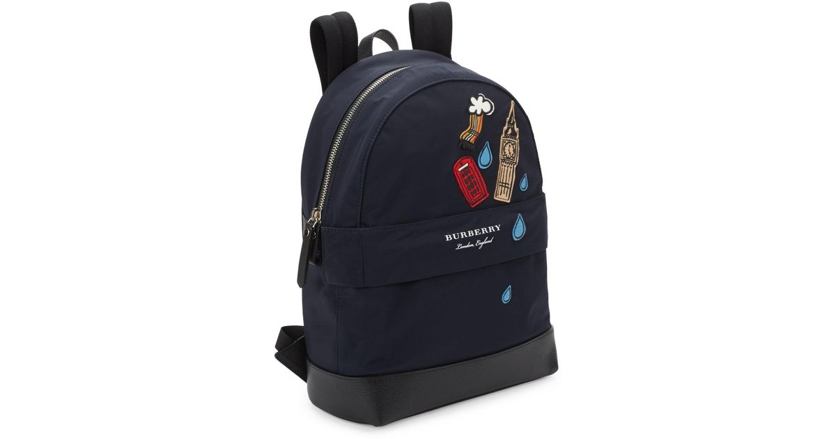 Burberry Kid S Nico London Backpack In Blue Lyst