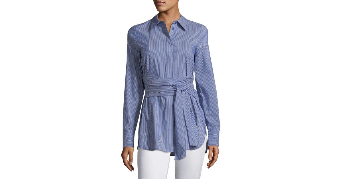 a9eb3e61d4 Lafayette 148 New York Cordelia Tie Waist Poplin Shirt in Blue - Lyst