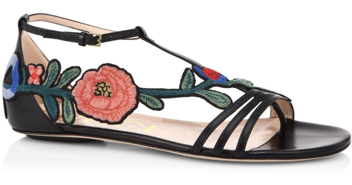 7ef7e87a9b1b Lyst - Gucci Ophelia Floral-embroidered Flat Sandals in Black