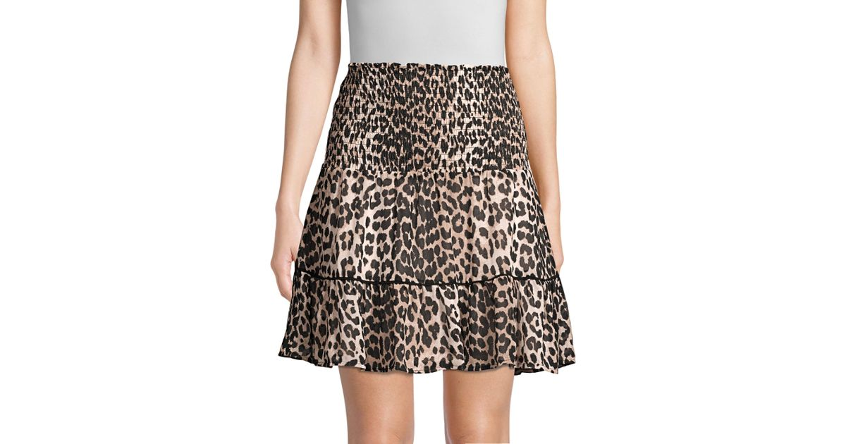 9850107634f1 Ganni Printed Georgette Leopard Mini Skirt in Brown - Lyst