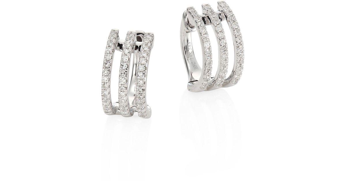 Lyst Ef Collection Multi Huggie Diamond 14k White Gold Earrings In Metallic