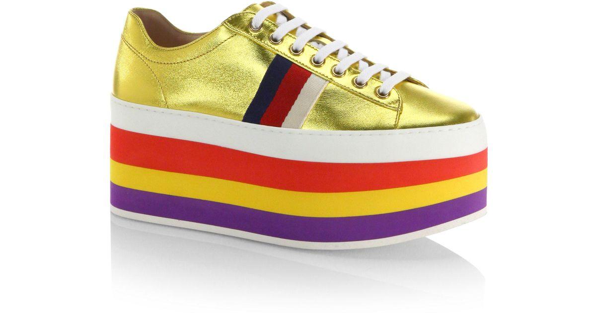 Lyst - Gucci Peggy Metallic Leather Rainbow Platform Sneakers in Metallic