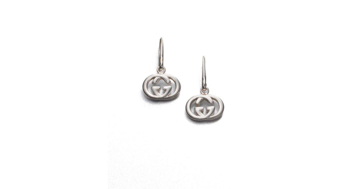 5dd856c19f5 Gucci Double G Sterling Silver Drop Earrings In Metallic Lyst