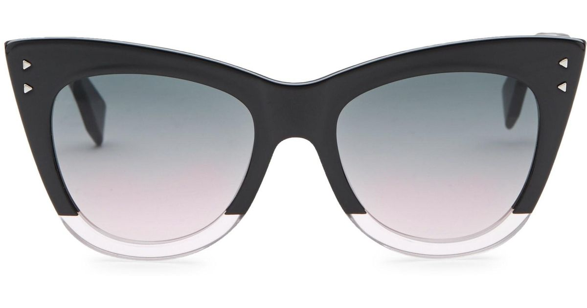 fb8dc03163ed0 Fendi 52mm Two-tone Cat Eye Sunglasses in Black - Lyst