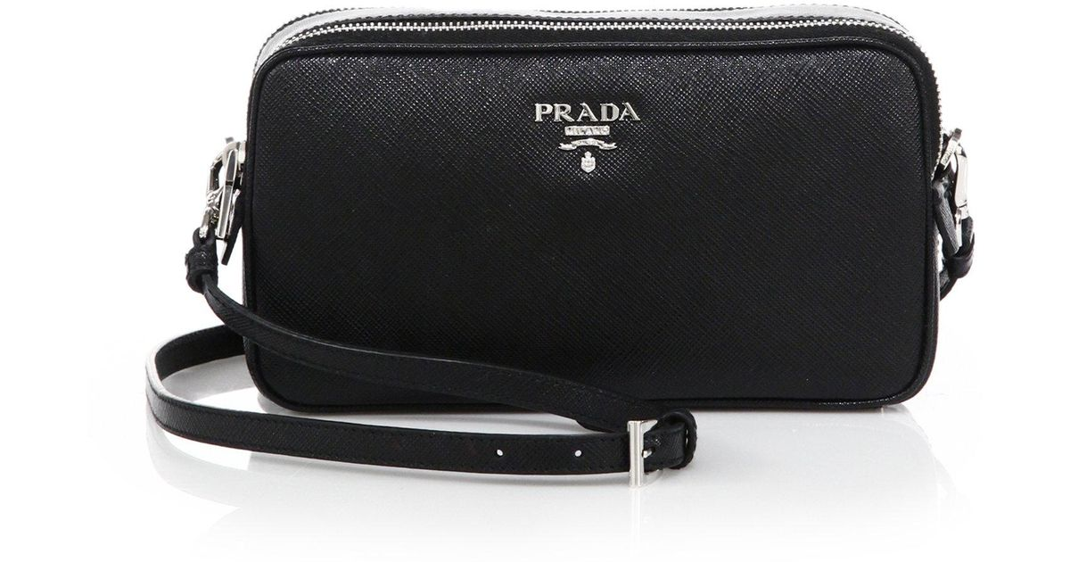 86d3bbb124b7 ... coupon for lyst prada saffiano leather camera bag in black abaa2 a3a27