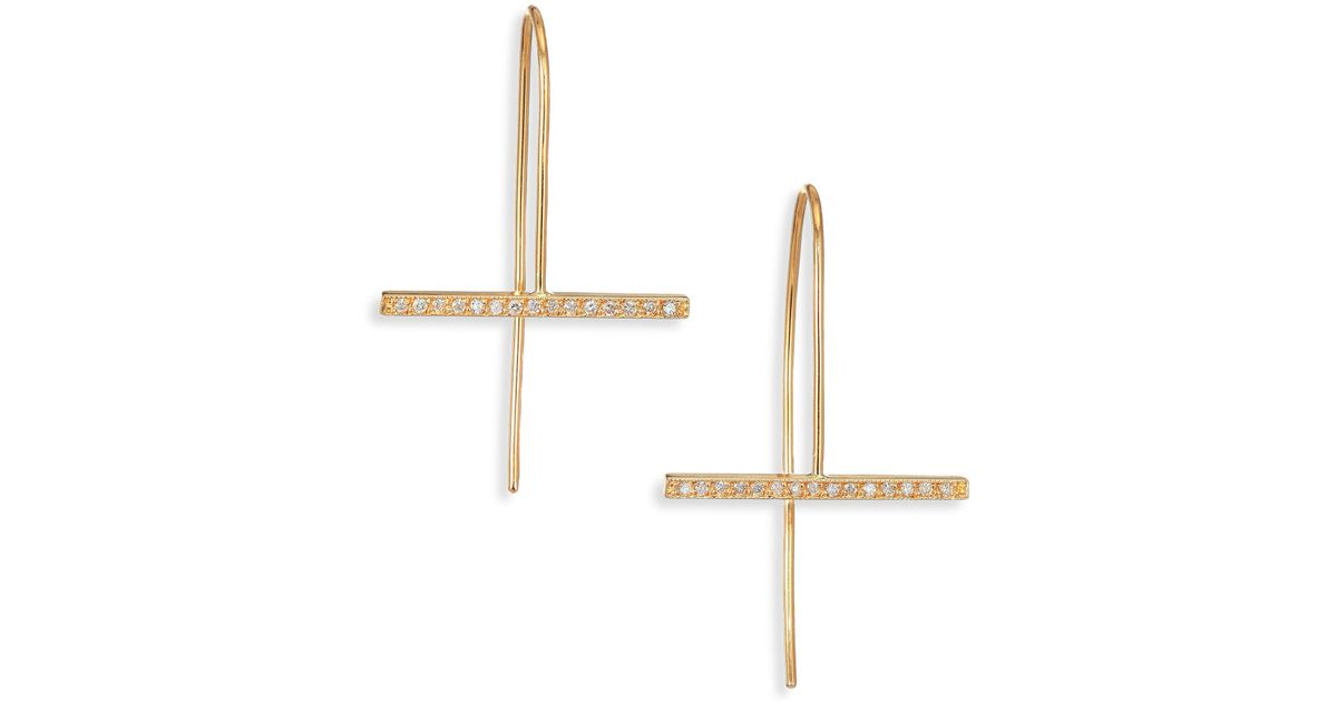 Lyst Zoe Chicco Pave Diamond 14k Yellow Gold Horizontal Bar Drop Earrings In Metallic