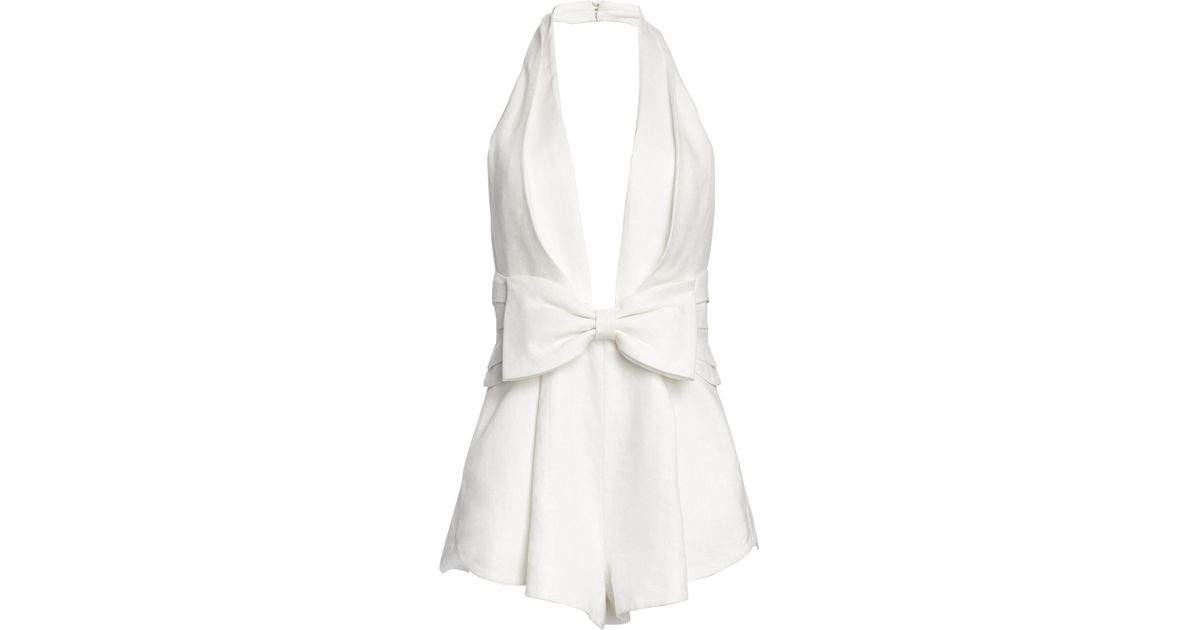 904ae3e67d Lyst - Zimmermann Women s Corsage Tie Halter Neck Playsuit - Ivory - Size 1  (4-6) in White
