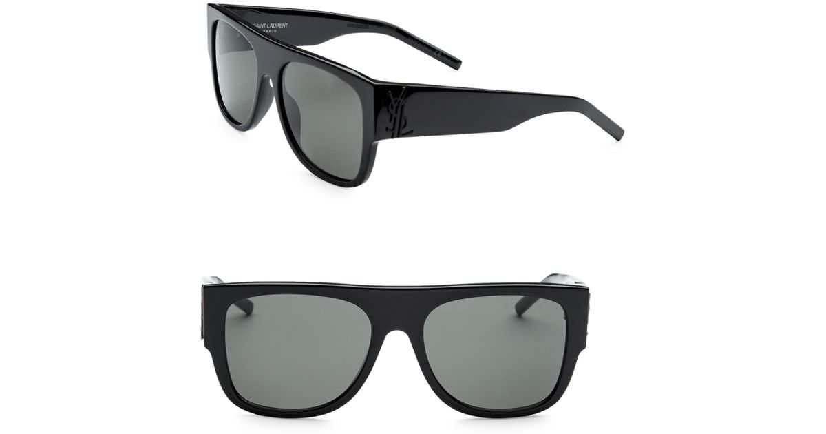 4f87e77d99753 Saint Laurent Men s 55mm Squared Flat Top Sunglasses - Black in Black for  Men - Lyst