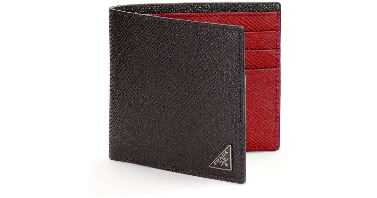 9298bf7c8c32 ... promo code lyst prada orizzontale wallet in black for men 9b3fc 47eec