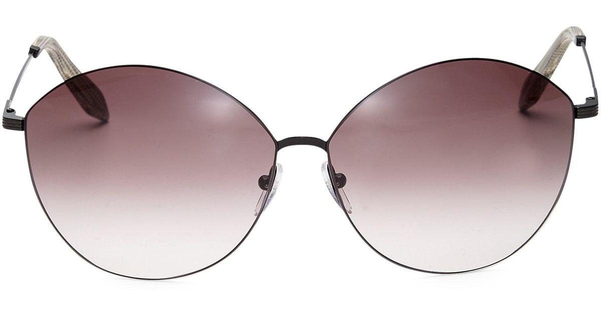 07388ce07 Lyst - Victoria Beckham Women's Feather Kitten 58mm Cat Eye Sunglasses -  Purple Black in Purple
