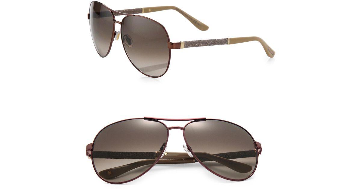 fd2dc16699e Jimmy Choo Lexie Aviator Sunglasses in Metallic - Lyst
