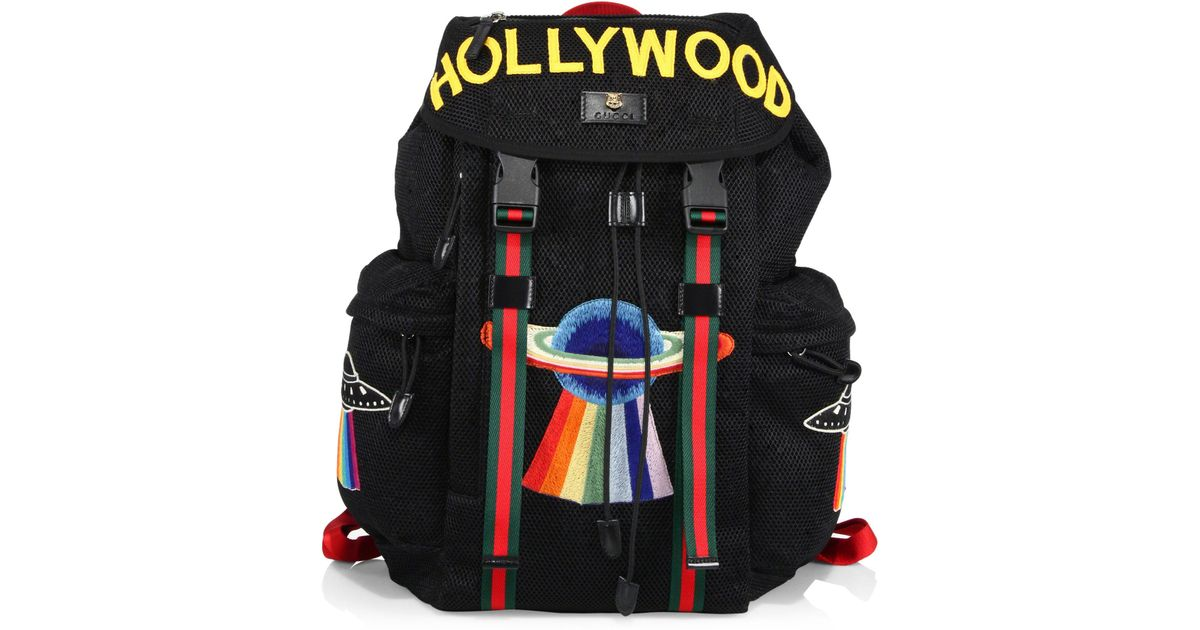 2266bd5a4a9 Lyst - Gucci Hollywood Embroidered Mesh Drawstring Backpack in Black for Men