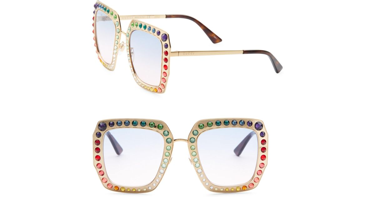 3b8a9fad8 Gucci 52mm Rainbow Crystal-studded Square Sunglasses - Lyst