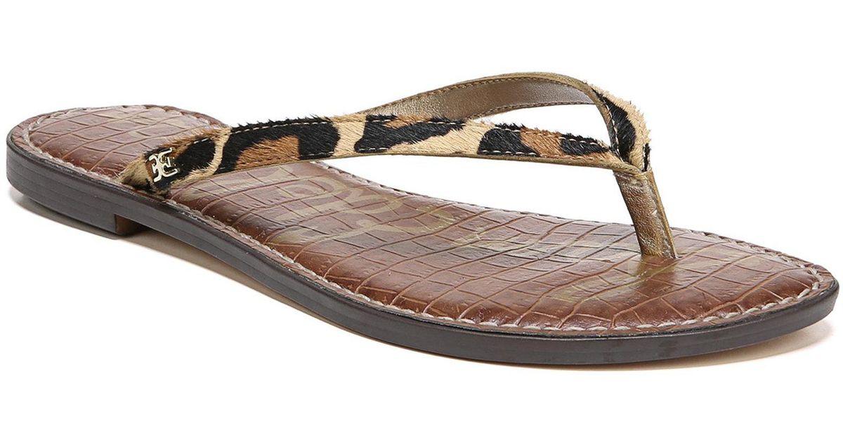 9c343d21a7a48 Lyst - Sam Edelman Gracie Leopard Brahma Hair Thong Sandals in Brown