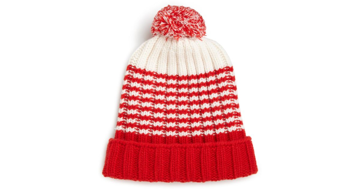 14db52cdc0e Lyst - Gucci Knit Wool Pom-pom Hat in Red for Men