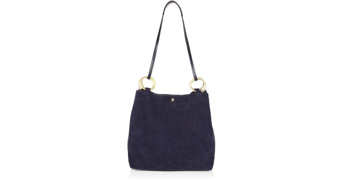 43ec7b90444 Tory Burch Farrah Suede Shoulder Bag in Blue - Lyst