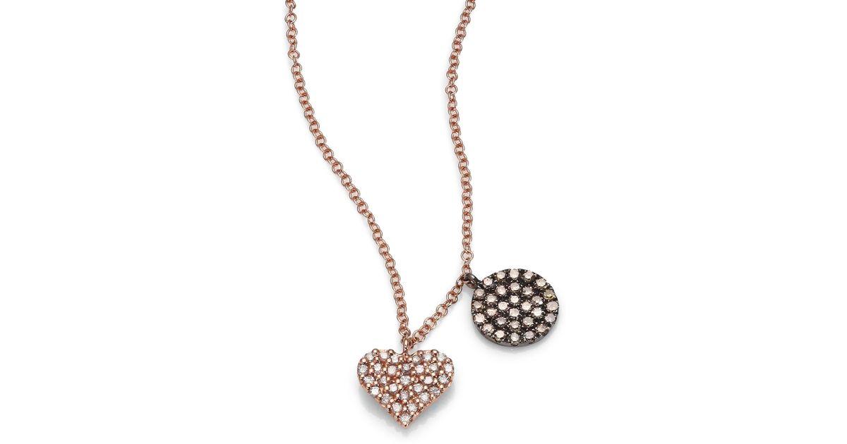 Lyst meira t diamond 14k rose gold heart pendant necklace in pink aloadofball Gallery
